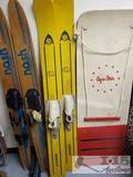 3 Pairs of Vintage Water Skis and Aqua Star Wake Board