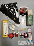 Vintage Thermometers, Patches Playgirl Bandana with Pin, BF Goodrich Ice Cap, and