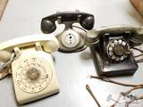 3 Rotary Telephones. Western 557B, ITT, and Bell Systems