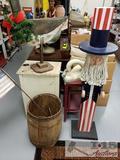 Ourdoor Decor. 2 Wooden Ducks, Wooden Uncle Sam and Barrel