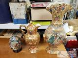 3 Decorative Pieces, 2 Vases