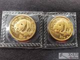 2 1987 Chinese 10 Yaun 1/10 oz .999 Fine Gold Panda Coins