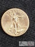 Reproduction 14k Gold Miniature Saint Gauden Double Eagle $20.00 Coin