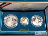 United States Mint Columbus Quincentenary 3 Coin Proof 8.359g of .900 Gold, 26.73g of .900 Silver
