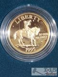 1995 Civil War Battlefield Five Dollar Gold Coin With, Total Overall Weight 8.359 grams of .900 Gold