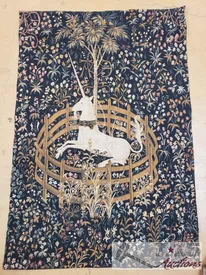 "JP Paris Tapestry Point De l'halluin ""The Unicorn in Captivity"" Tapestry"