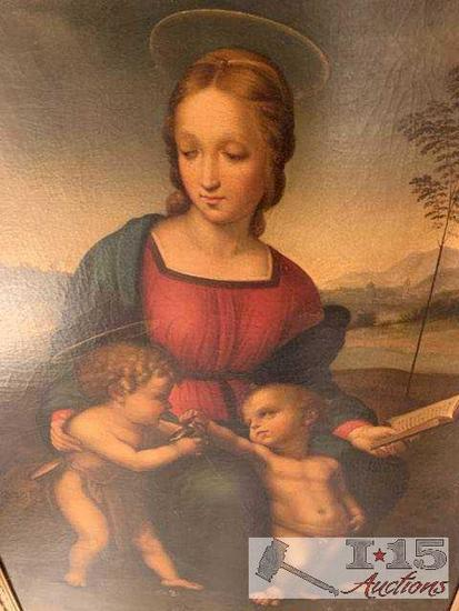 Large Renaissance or Renaissance, Esk. Painting Madonna with Cherubs stayle resembles Raphael over
