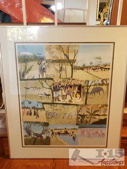 """Framed Serigraph by Enrica Marshall """"A Collage"""" No. 7/12 with Certificate of Authenticity"""