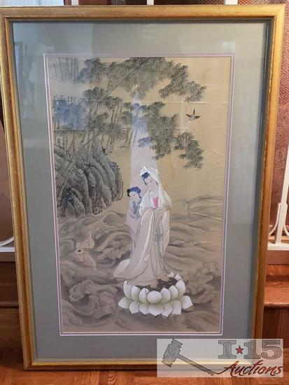 AUTHENTIC Framed Asian artwork on Rice Paper