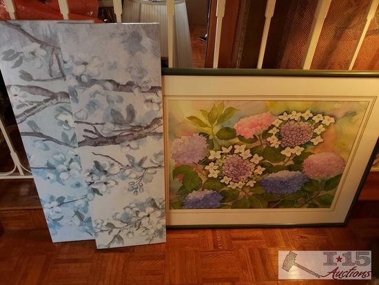 Framed Floral Art and Two Canvases