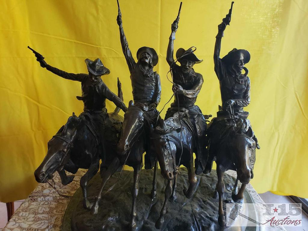 """Extremely Heavy Bronze. """"Coming Through The Rye"""" By Frederic Remington. Marked Frederic Remington."""