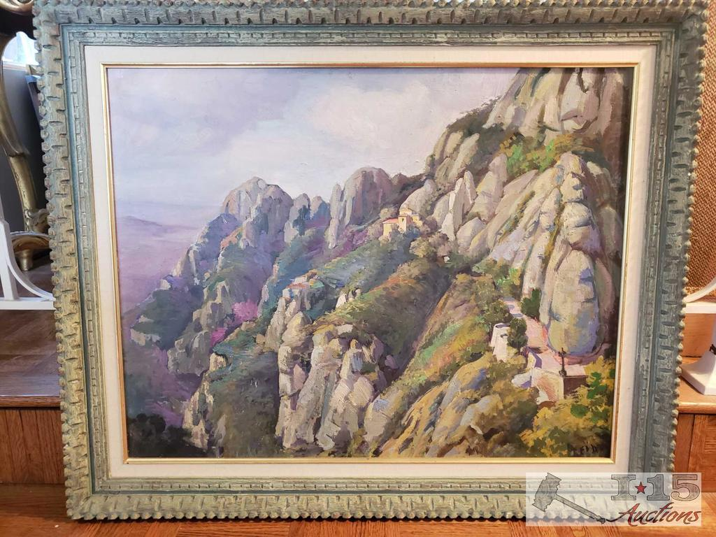 Framed Mountainside Canvas Painting