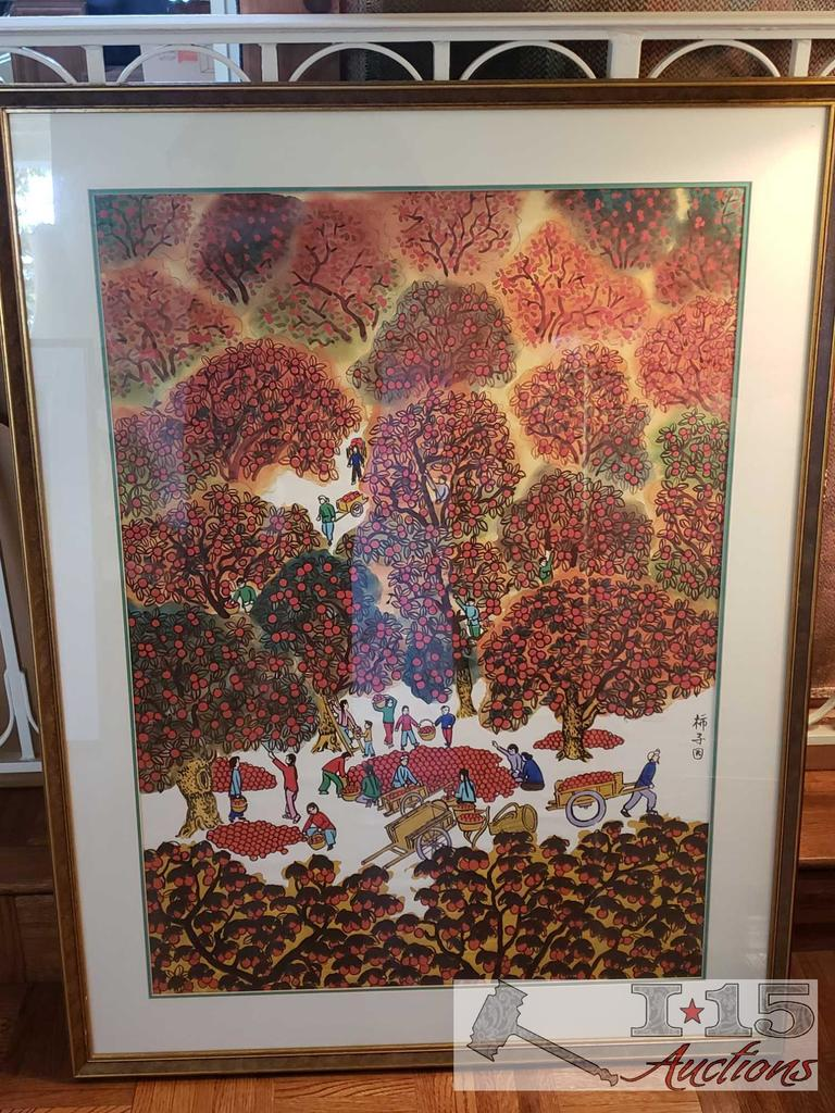 AUTHENTIC Large Framed Asian Apple Orchard Panting artwork