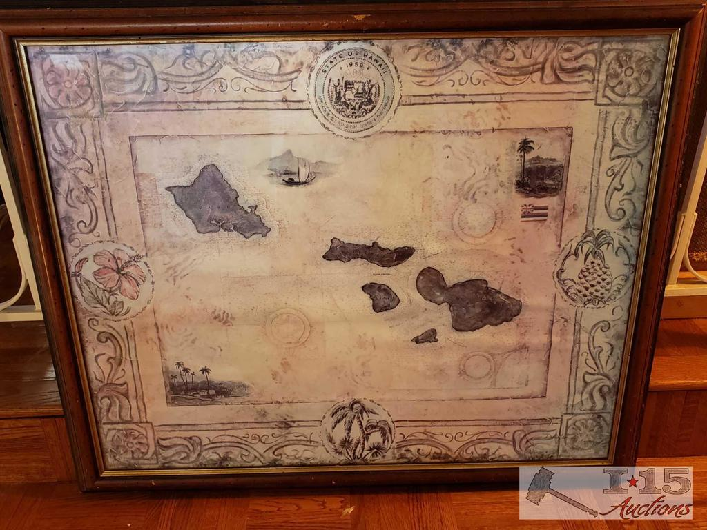 Framed State of Hawaii 1959 Map