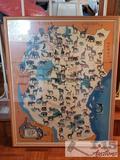Framed World Wildlife Fund Sapra Safari Map