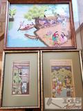 3 AUTHENTIC Framed Asian artworks