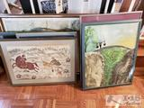 7 Authentic Asian Framed Art from Around the World Including a Original from Hoang Trong Tien and