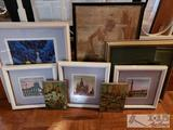 6 Authentic Farmed Art and 2 Painted Tiles from Around the World!! Some pieces are Signed and