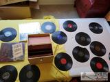 Miscellaneous records, vintage record Box and to record sets