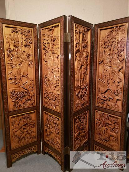 20th Century Four Panel Mahogany Carved Screen Made In Hong Kong FM Value $600.00