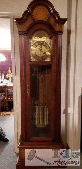 Howard Miller Tall Grandfather Clock with 3 Brass Weights and a Large Pendulum Dated 1980