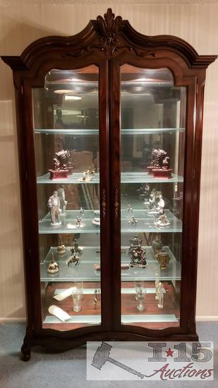Curio Display Cabinets Dark Mahogany