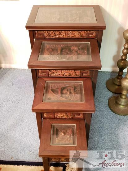 20th Century Nest Of Tables Dark Rose Wood Design of a Asian Scene With Inlaid Carved Wood,Glass Top