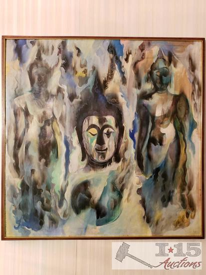 Original Abstract Asian Panting Oil Painting By Yai 3 Buddhas In Colors of Green Blue Grey & Yellow