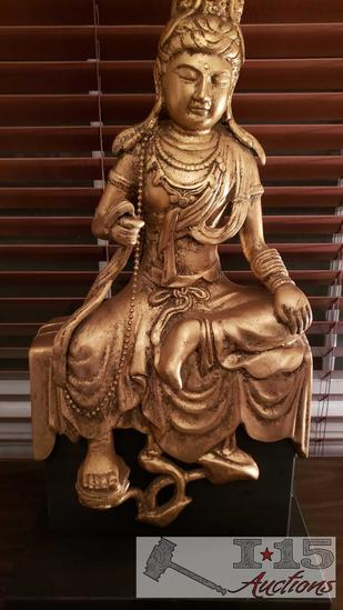 Compsition Gold Buddha, Asian Stone Figures, and Singha Ebony Carved Mask