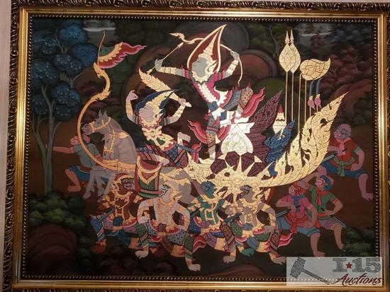 Abstract Asian Design Framed Warrior Scene Painting on Panel