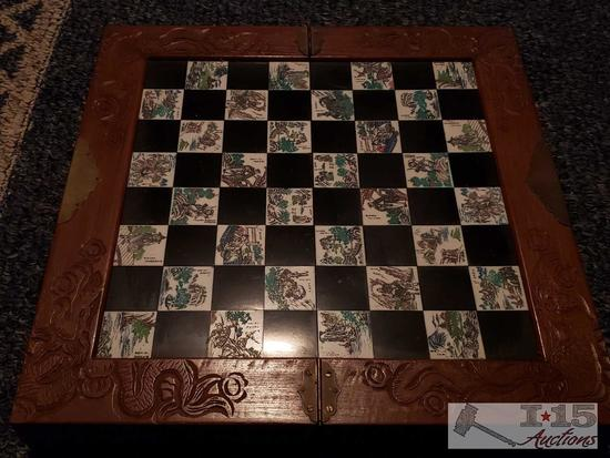 Authentic Chinese Chess Set with Engraved Tiles and Case