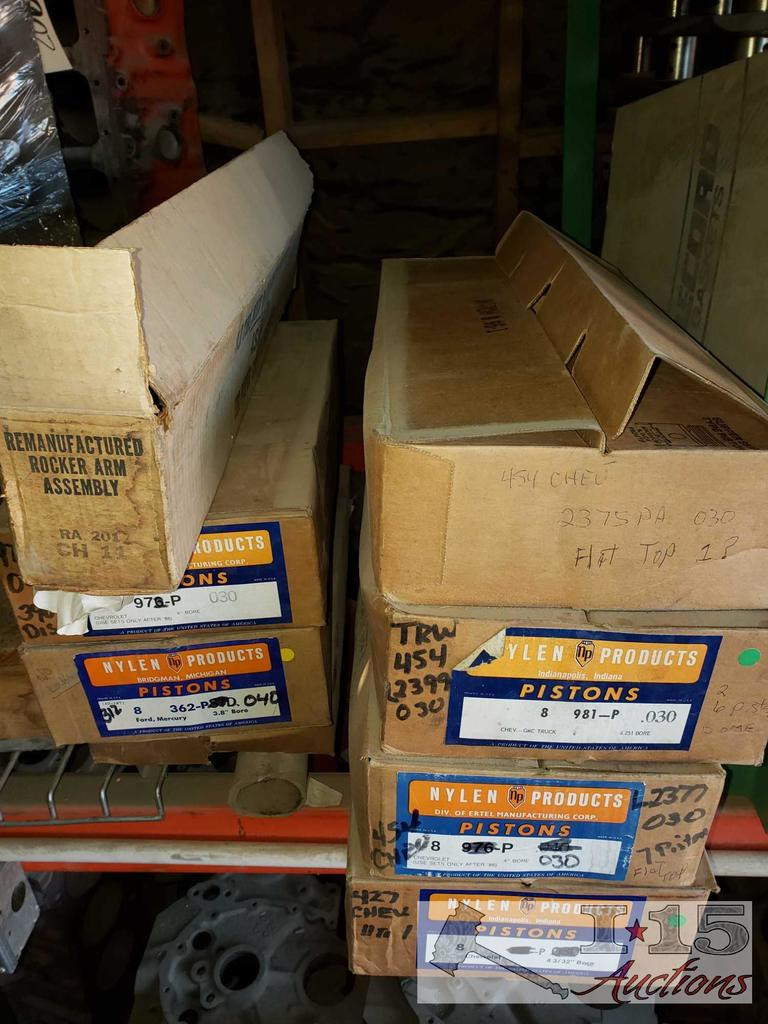 Lot: 7 Boxes of Piston Heads, for 454, 427, 390, and Others