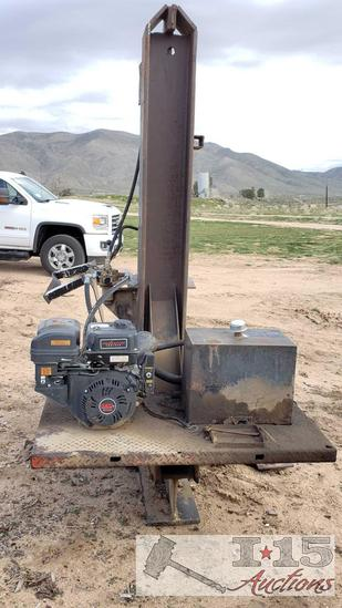 8' Tall Industrial Hydraulic Log Splitter 420cc Gas Powered Motor Running See Video!