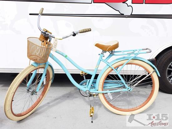 Womens Huffy Beach Cruiser Baby Blue With Tan & Cream Wheels, Tires & Seat