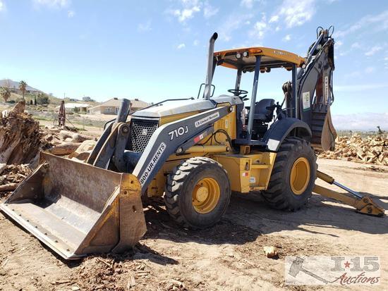 "2009 4x4 John Deere 710J Backhoe with 18"", 24"", 35"", 48"" Buckets & compaction Wheel, 4in1, See Video"