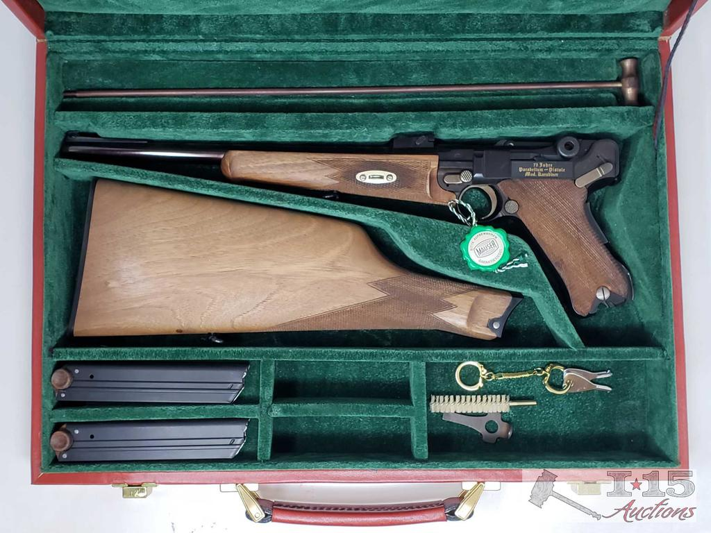 Mauser 75th Year Commemorative Model 1902 Parabellum Luger Cased with Shoulder Stock NEW PHOTOS/INFO
