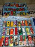 Approx 70 Vintage Lesney Matchbox, Hot Wheels, and Other Small Diecast Cars in Matchbox Case