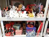 2 Shelves of Coca-cola Collection, Stuffed Bears, Polar Bear Clock and More
