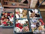 5 Totes of Mixed Stuffed Bears and Animals, Snoopy, Cabbage Patch. Etc...