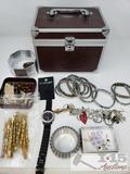 Misc Costume Jewelry with Jewelry Box, Bracelets, Rings, Necklaces, and More