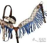 Paisley Print Browband Headstall and Breast Collar Set