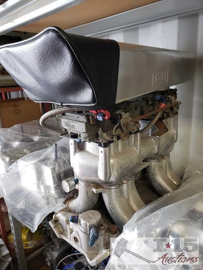 Edelbrock UR2X Manifold, Dual Holly Carbs, and Basset Scoop