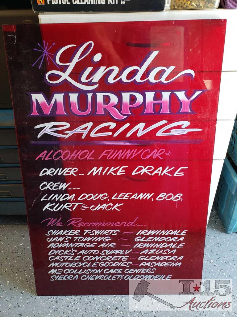 Vintage Sign on Red Plexiglass with Pin Striping Lettering