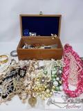 Assorted Costume Jewelry in Jewelry Box