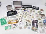 Assorted Pins, Pins, Pocket Knives and More
