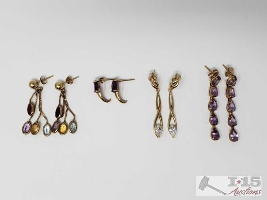 Four Pairs of 14K Gold Earrings, 7.7g