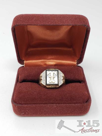 Men's Sterling Silver Ring with 10k Gold Top, 8.8g