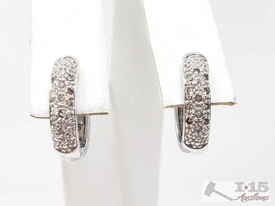 14k White Gold Diamond Earrings, 3.7g