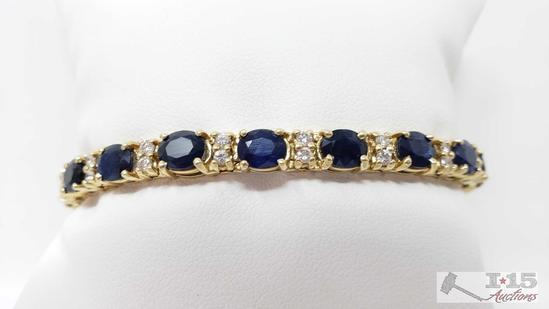 14k Gold Diamond and Sapphire Bracelet, 21.7g