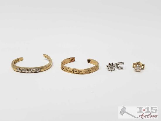 Three Single 14k Earrings and Diamond Pendant 2.6g